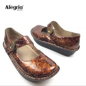 ALEGRIA CHOCO CROCO COPPER WOMEN'S CLOG SHOES